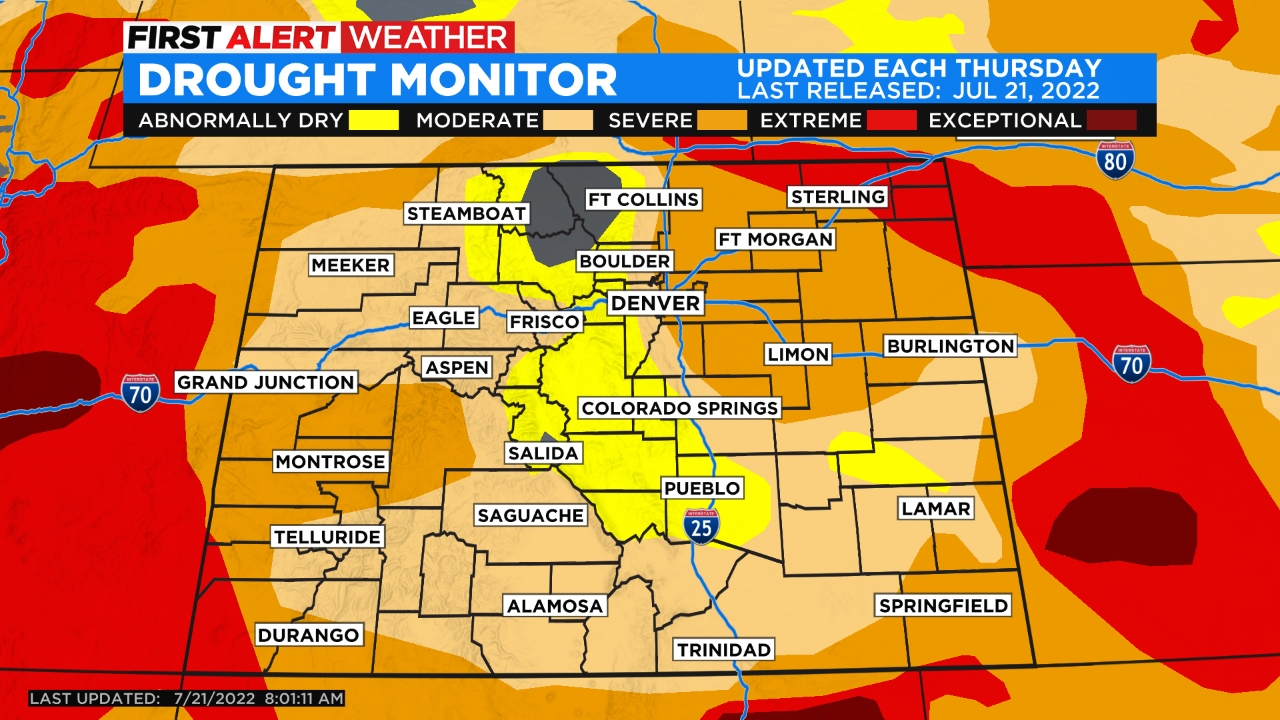 drought monitor Mountain Snow Returns While Denver Stays Dry