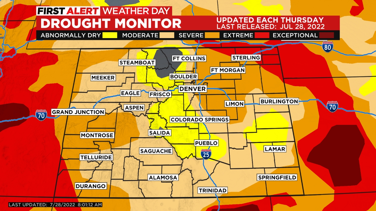 drought monitor Warm & Dry Front Range, Snow For Mountains Soon