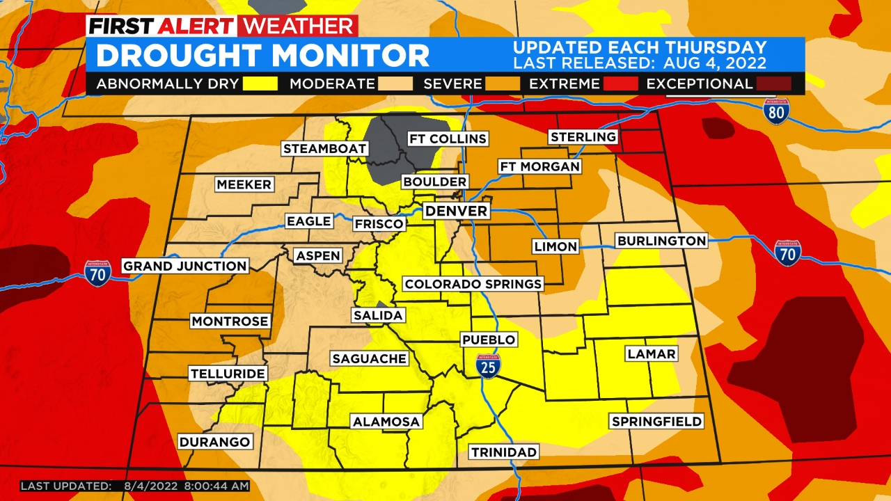 drought monitor Isolated Late Day Thunderstorms