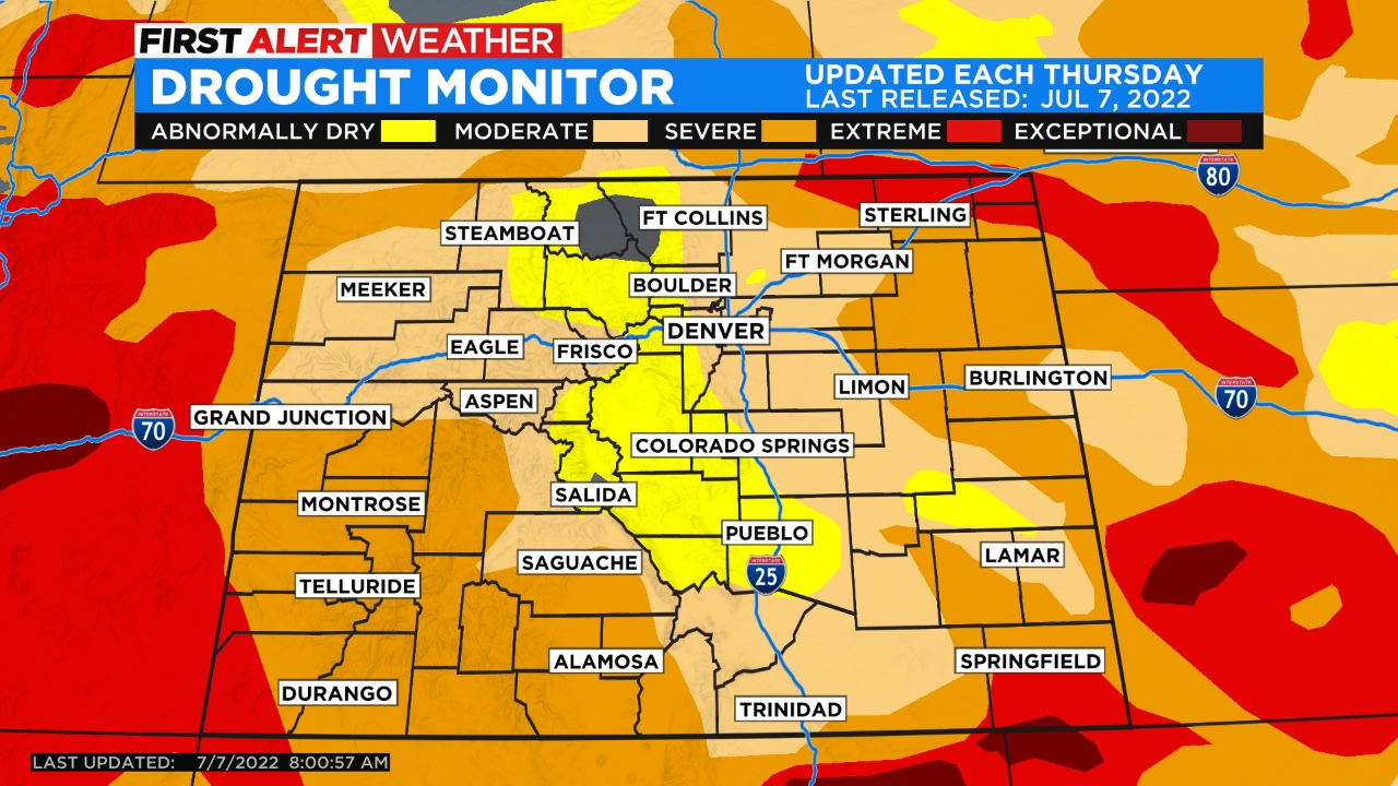drought monitor Generally Dry Weather Ahead, Only Very Isolated T Storms
