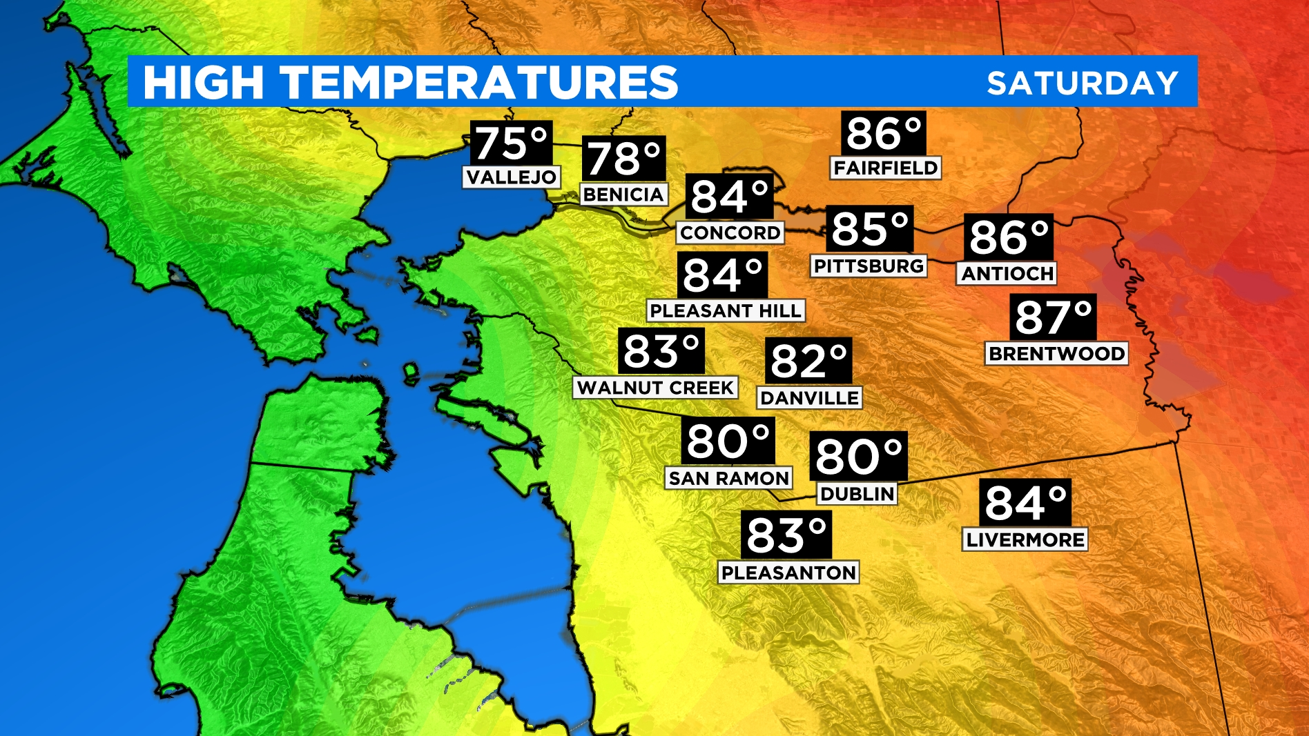 EAST BAY HIGHS large East Bay Temp Forcast