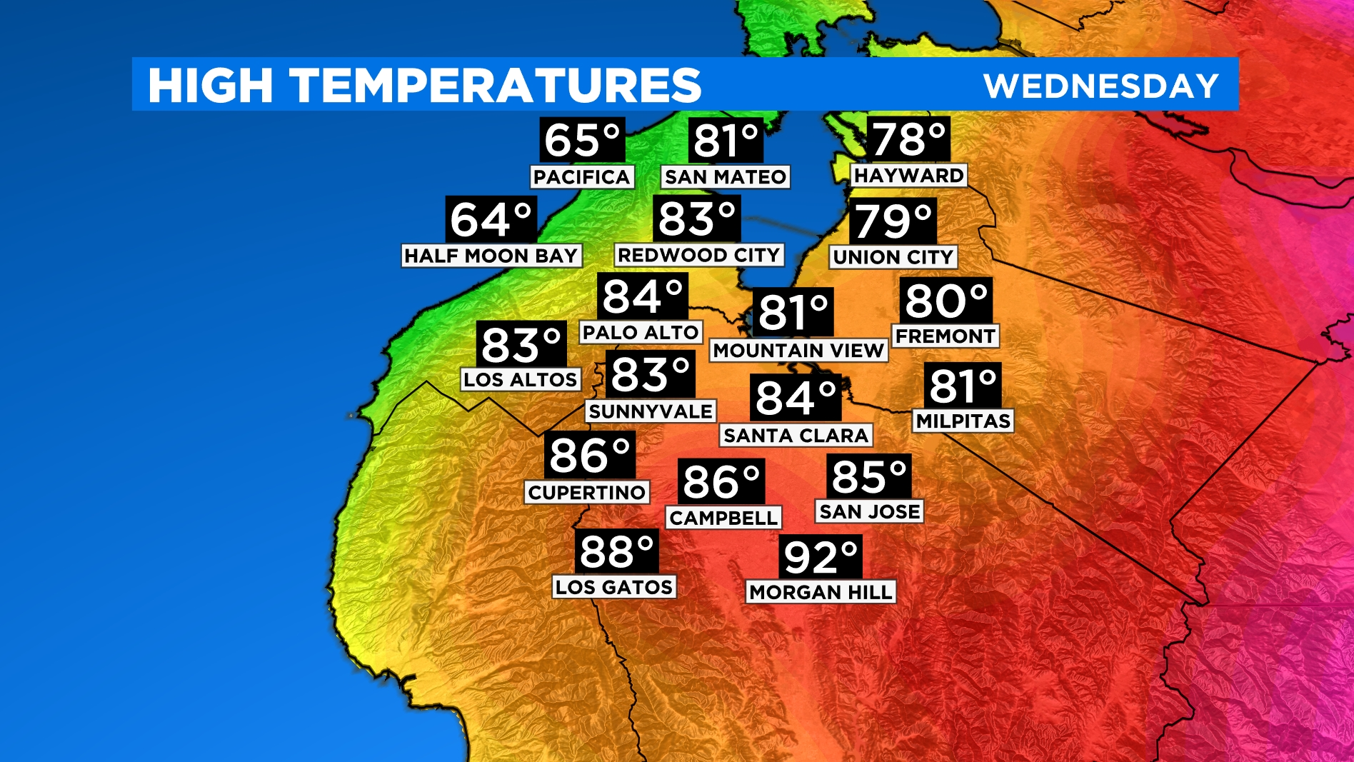 SOUTH BAY HIGHS large South Bay Temp Forcast
